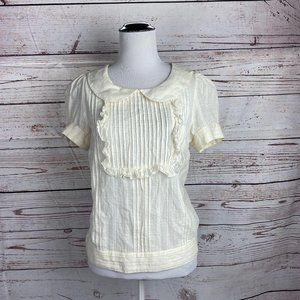Juicy Couture Wool Ruffle Pintuck Blouse Sz S